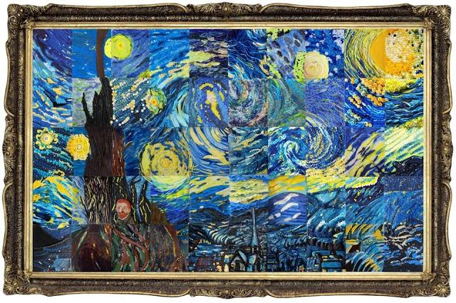 Starry Night puzzle cake