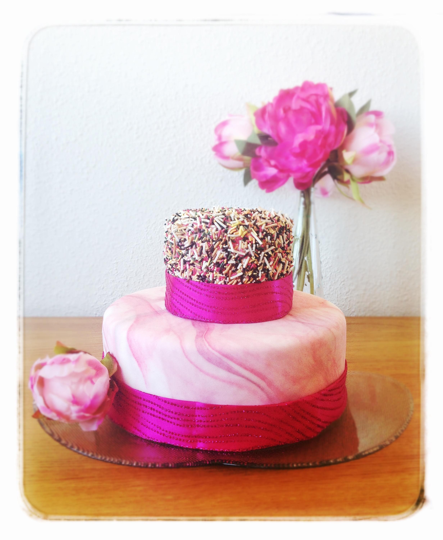 Reto Sprinkle, mi tarta con cinta rosa