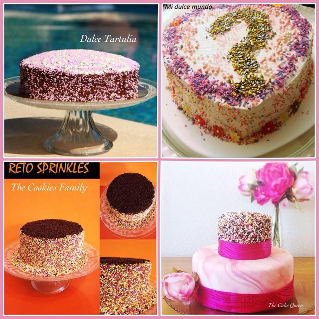 Collage RETO Sprinkle, tartas de Dulce Tartulia, mi dulce mundo, The cookies family y esta servidora