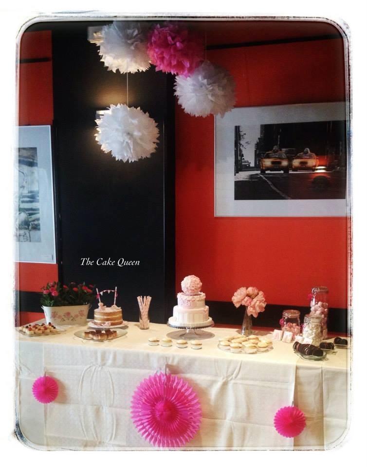 Mesa rosa para el bautizo de Alba