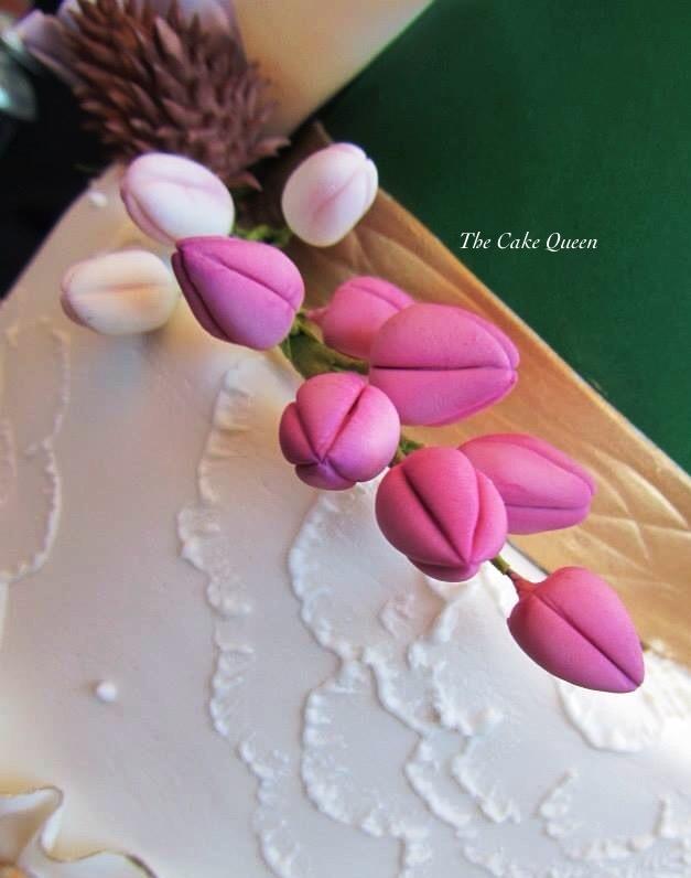 Mi tarta para Expotarta 2014, detalle de la tarta y bulbos que formaban parte del ramo de flores