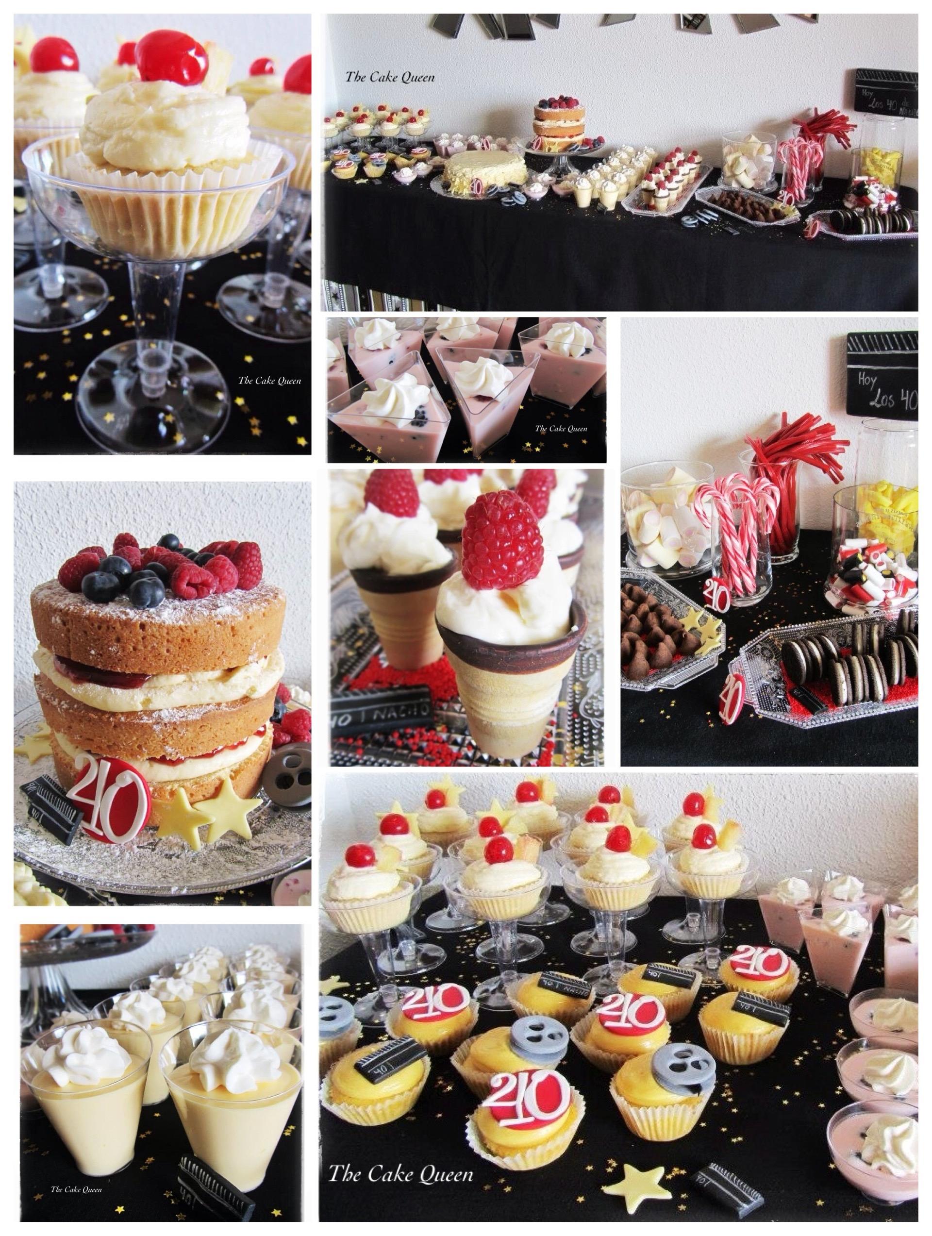 Collage de la mesa dulce para celebrar el cumple 40 de Nacho