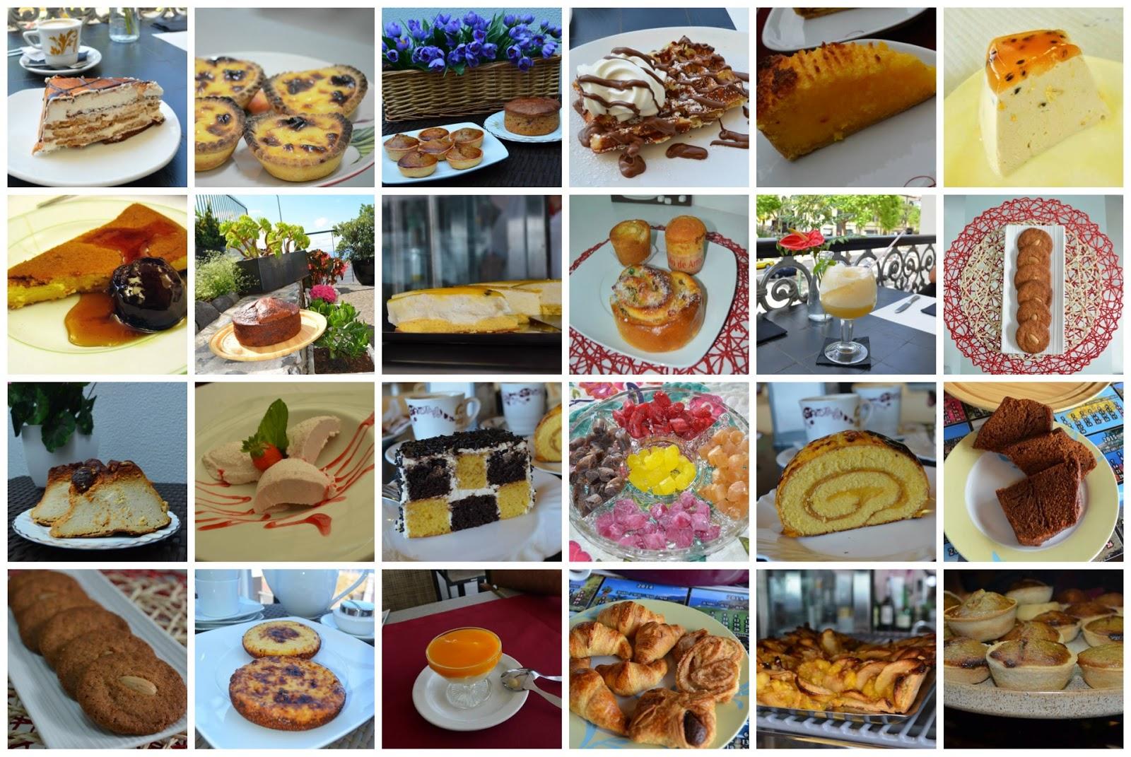 Mi ruta gastronómica por Madeira, collage con todas las tartas y postres