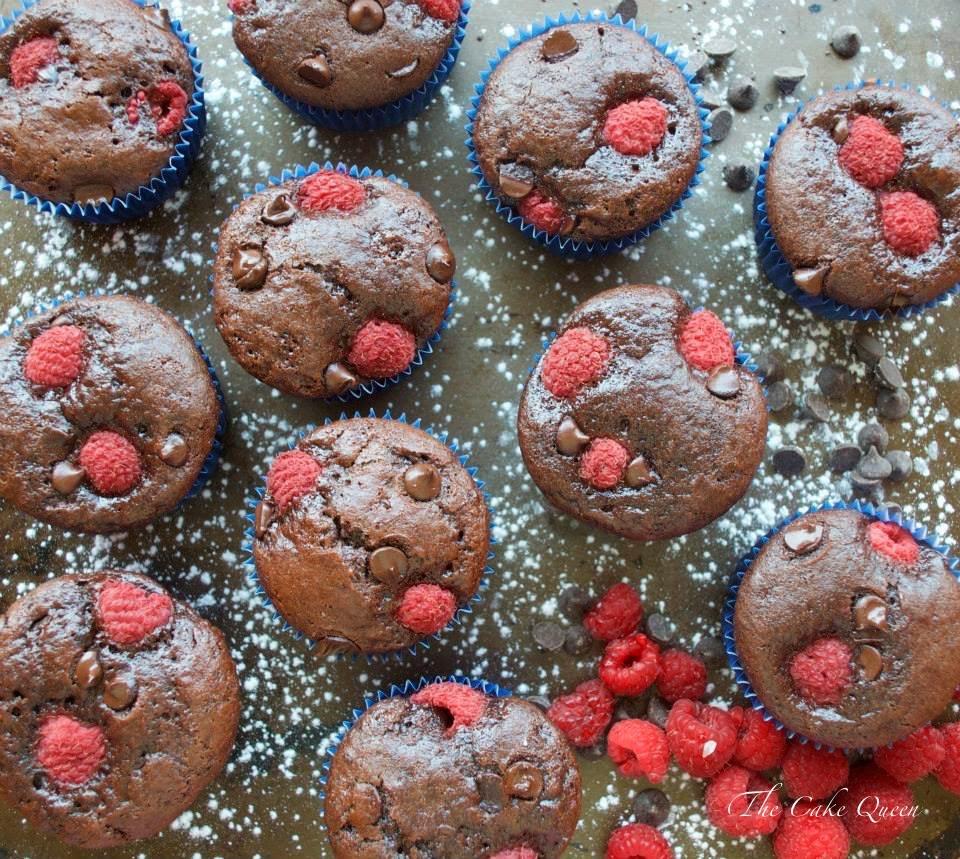 Muffins de frambuesas y chocolate, realmente deliciosos