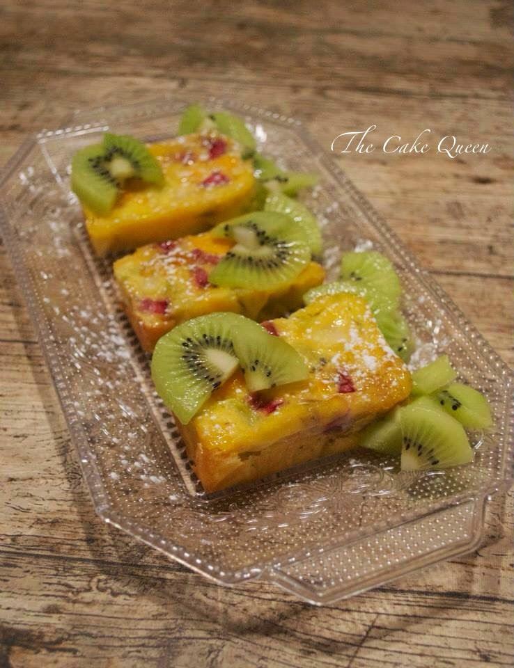 Tortilla de Kiwis al horno, con una presentación de 10