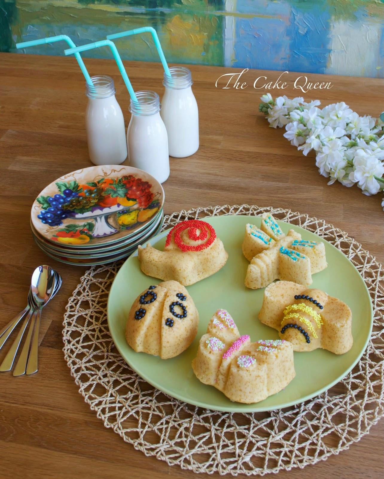 Mini garden cakes de limón y fruta de la pasión, con el azúcar de color los mini bizcochos quedan preciosos
