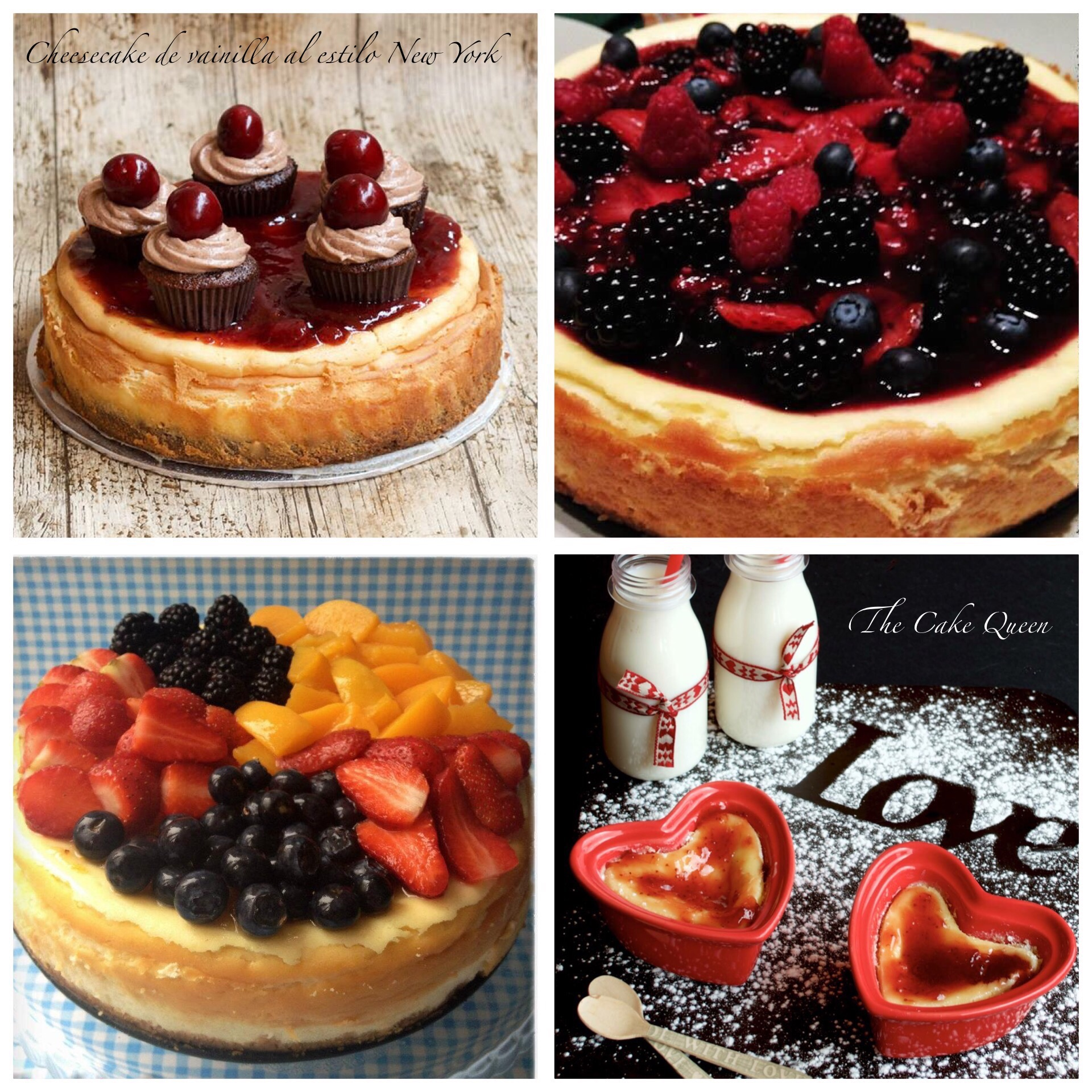 Cheesecake al estilo New York, 4 fotos diferentes en un gran collage de cheesecakes