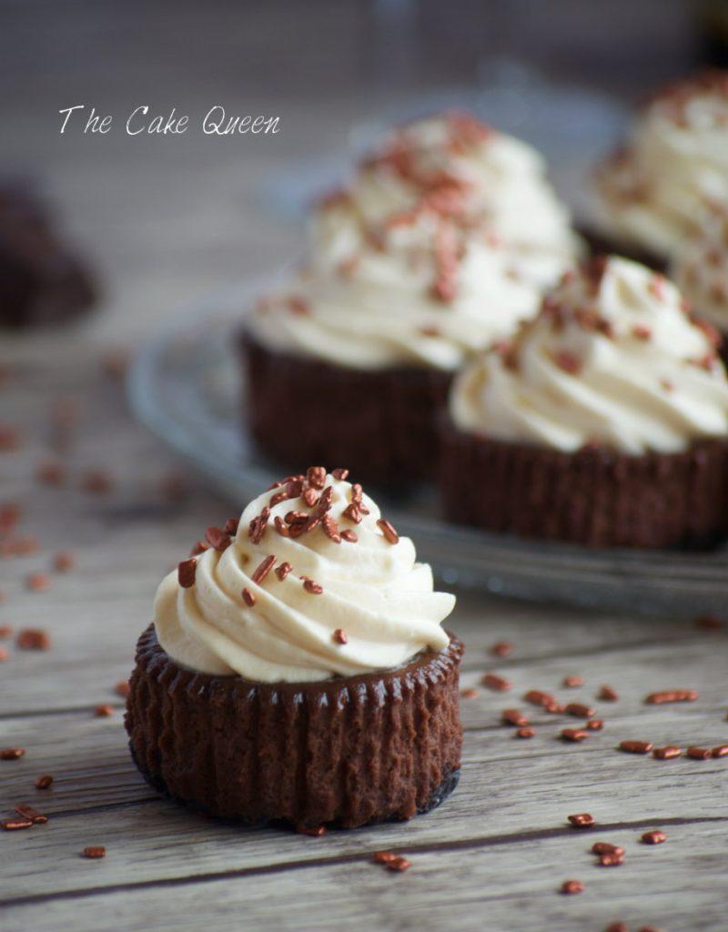 mini cheesecake de chocolate y baileys