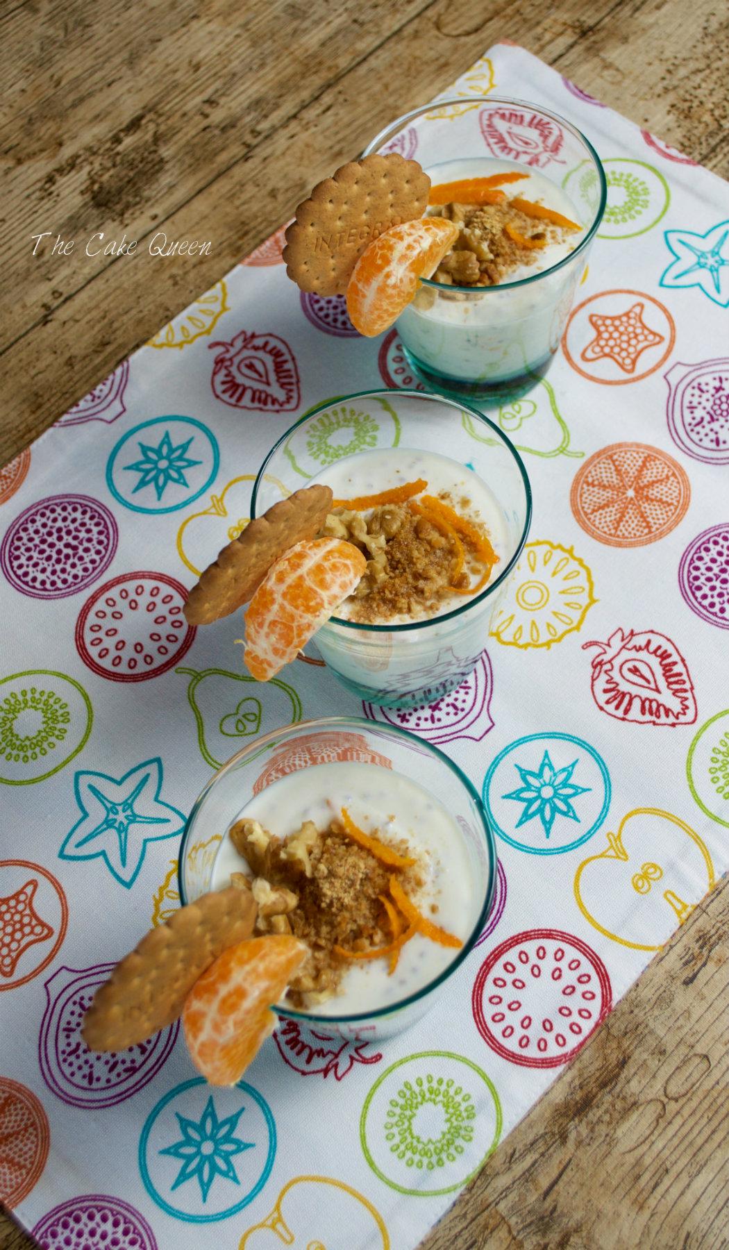 Quark con mandarinas y galletas