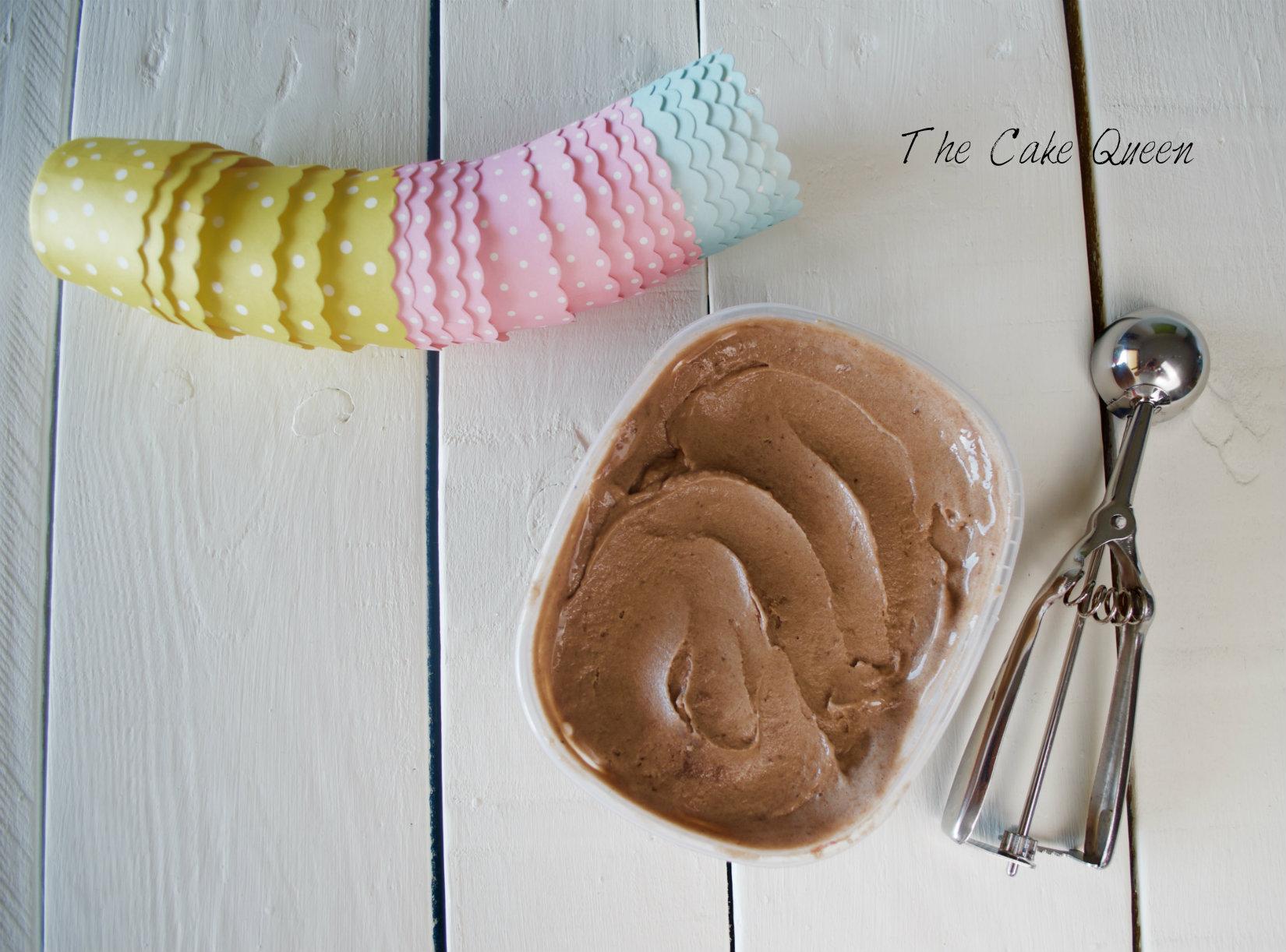helado fit de banana, cacao y yogur